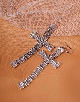 Сережки хрести довгі зі стразами | 239816-06-XX - A-SHOP