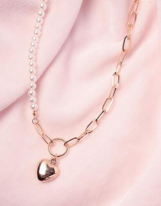 Підвіска на шию із перлин та ланцюжка з кулоном у вигляді серця | 245130-08-XX - A-SHOP