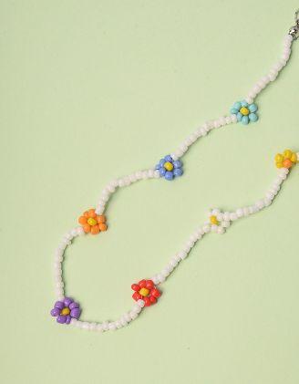 Чокер на шию з квітами із намистин | 243008-21-XX - A-SHOP