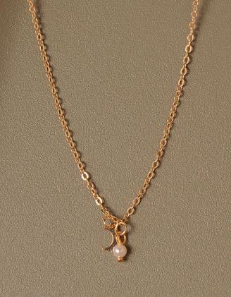 Підвіска з кулоном у вигляді напівмісяця та перлиною   233348-04-XX