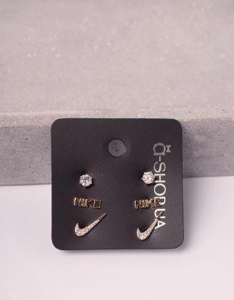 Сережки пусети у наборі з написом | 246122-08-XX - A-SHOP