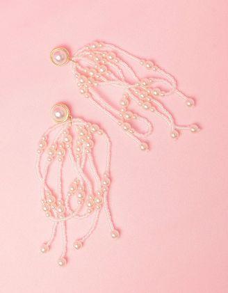 Сережки довгі із бісеру з перлинами | 249203-01-XX - A-SHOP