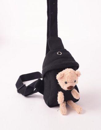Сумка на плече з ведмедиком у кишені | 246029-02-XX - A-SHOP