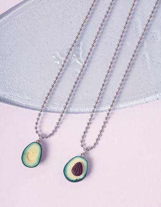 Підвіска на шию подвійна з кулоном у вигляді авокадо | 241246-20-XX - A-SHOP