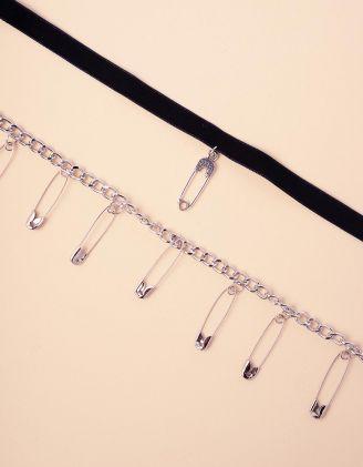 Чокер з підвіскою на шию декоровані булавками | 245317-07-XX - A-SHOP