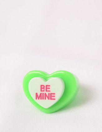 Кільце широке у вигляді серця з написом | 248689-37-38 - A-SHOP