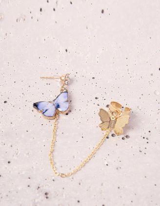 Моносережка з ланцюжком та метеликами | 243841-58-XX - A-SHOP