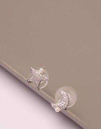 Сережки пусети у вигляді зірки та напівмісяця з перлинами | 246114-06-XX - A-SHOP