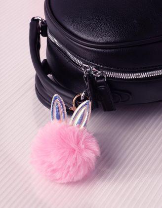 Брелок на сумку у вигляді хутряної кульки з голографічними вушками | 239263-14-XX