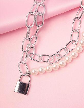 Підвіска на шию багатошарова із ланцюга та перлин з кулоном у вигляді замка | 246047-06-XX - A-SHOP