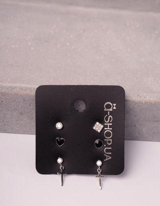 Сережки пусети у наборі з хрестами | 246121-06-XX - A-SHOP