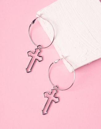 Сережки кільця з хрестами | 241414-05-XX - A-SHOP