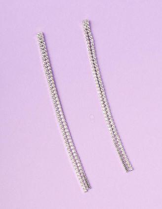 Сережки довгі подвійні інкрустовані стразами | 235344-06-XX - A-SHOP