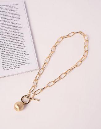 Підвіска на шию у вигляді ланцюга з перлиною | 240265-04-XX