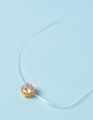 Чокер из лески с кристаллом в кулоне | 233713-08-XX - A-SHOP