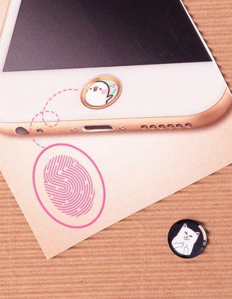 Наліпка на телефон на кнопку  HOME з принтом кота факера | 239886-02-XX - A-SHOP