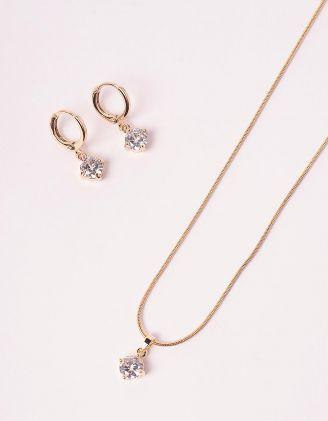 Комплект із підвіски та сережок з кристалами | 238818-08-XX - A-SHOP