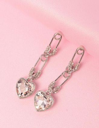 Сережки подовжені з булавками та серцями | 249205-06-XX - A-SHOP