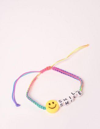 Браслет на руку плетений з написом SMILE та смайликом | 248549-21-XX - A-SHOP