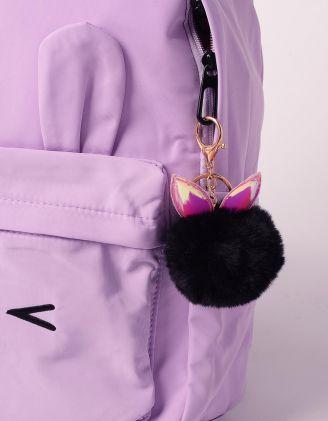 Брелок на сумку у вигляді хутряної кульки з голографічними вушками   239263-02-XX