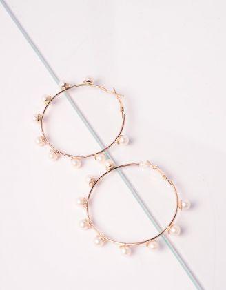 Сережки кільця з перлинами | 240545-08-XX - A-SHOP