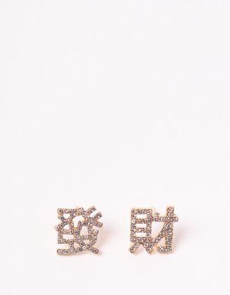 Сережки пусети у вигляді ієрогліфів з позначенням удача | 246789-08-XX - A-SHOP