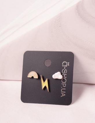 Сережки пусети у вигляді веселки та блискавки | 246199-21-XX - A-SHOP