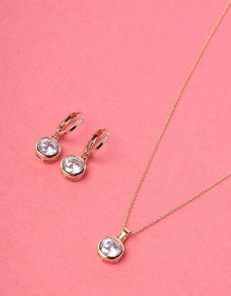 Комплект із підвіски та сережок з камінцями | 228475-08-XX - A-SHOP
