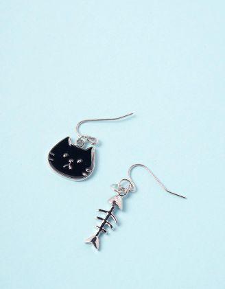 Сережки з підвісками у вигляді киці та скелета риби | 246300-07-XX - A-SHOP