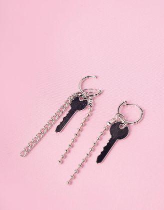 Сережки з ключем та ланцюжками | 245875-05-XX - A-SHOP