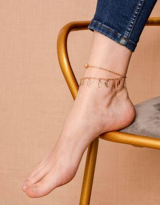 Браслет на ногу подвійний з підвісками у вигляді листя | 239991-04-XX - A-SHOP