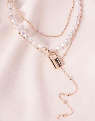 Підвіска кольє із перлин з кулоном у вигляді замка | 239712-08-XX - A-SHOP