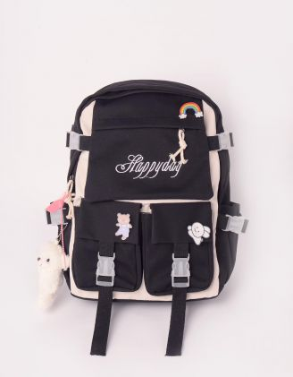 Рюкзак для міста зі значками та брелоком у вигляді ведмедика | 246600-02-XX - A-SHOP