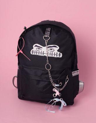 Рюкзак молодіжний  з написом Billie Eilish та ланцюгами | 240243-02-XX - A-SHOP