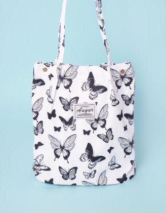 Сумка шопер з принтом метеликів | 247919-01-XX - A-SHOP