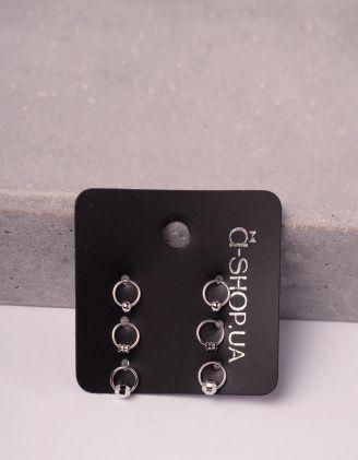 Сережки пусети у наборі у вигляді кілець | 246124-05-XX - A-SHOP