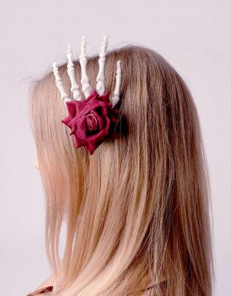 Шпилька для волосся у вигляді кістяної долоні з трояндою | 243302-15-XX - A-SHOP
