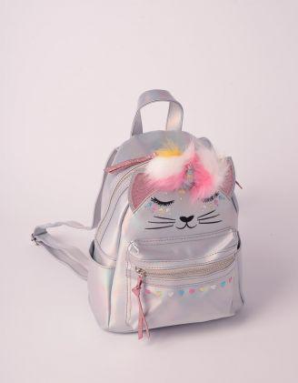 Рюкзак молодіжний голографічний з зображенням кицьки єдинорога | 239477-05-XX