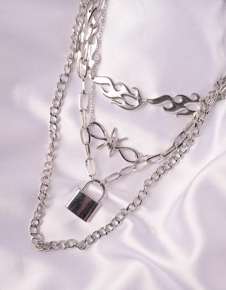 Підвіска на шию із ланцюжків з кулонами у вигляді вогню та замка | 246063-05-XX - A-SHOP