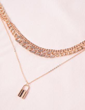 Підвіска на шию із ланцюжків багатошарова з кулоном у вигляді замка | 245863-08-XX - A-SHOP