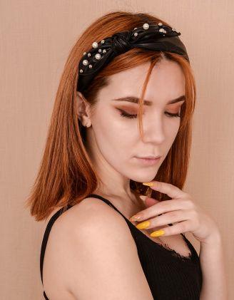 Обідок для волосся під шкіру з перлинами та бантом | 240448-02-XX - A-SHOP