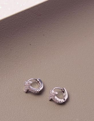 Сережки кільця маленькі хрести зі стразами | 241192-06-XX - A-SHOP
