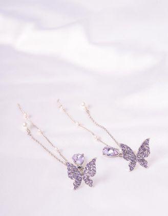 Сережки довгі з метеликами та перлинами на ланцюжках | 243593-35-XX - A-SHOP