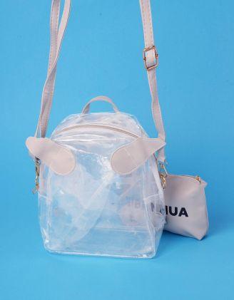 Рюкзак трансформер прозорий з крилами та косметичкою | 239007-11-XX