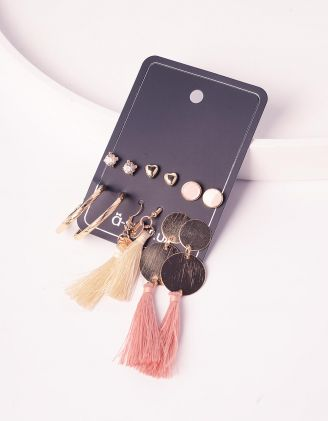 Сережки пусети у наборі з довгими сережками з китицями | 240536-04-XX - A-SHOP