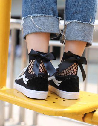 Шкарпетки у сітку з бантами | 246261-02-XX - A-SHOP