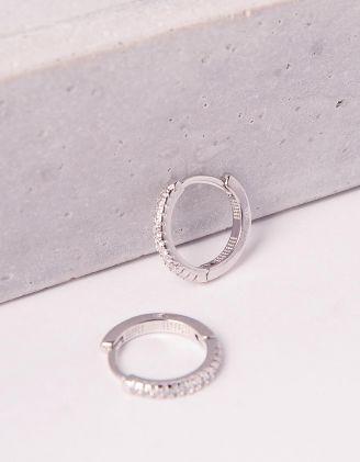 Сережки кільця маленькі декоровані стразами | 247028-06-XX - A-SHOP
