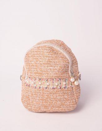 Рюкзак трансформер маленький плетений з перлинами | 239322-39-XX