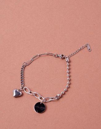 Браслет на руку із ланцюжків та намистин з кулоном у вигляді серця   243513-05-XX - A-SHOP
