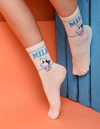 Шкарпетки із зображенням  молока | 233909-13-XX - A-SHOP